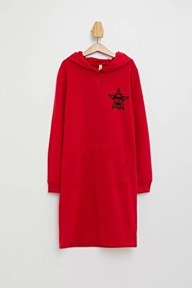 DeFacto Kapüşonlu Baskılı Sweat Elbise Kırmızı